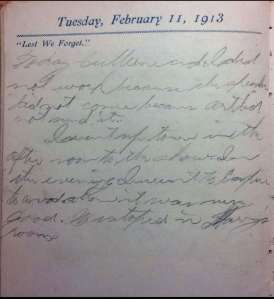 "Tuesday, February 11, 1913 ""Lest We Forget"""