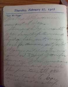 """""""Lest We Forget"""" Thursday, February 27, 1913"""
