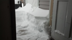 This is why I couldn't get the back door open.  I had to go in  through the garage...